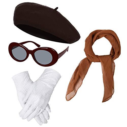 Maskerade Kostüm Französisch - NUWIND 1940er Französisch Klassisch Kostüm Zubehör Set inkl. Barett Brille Handschuhe Chiffon Schal, Retro Accessoires für Mädchen Damen Frauen (braun)