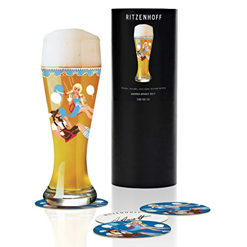 Ritzenhoff Weizen bicchiere da birra di Andrea Arnolt, in vetro cristallo, 500ML, CON CINQUE birra Coperchi