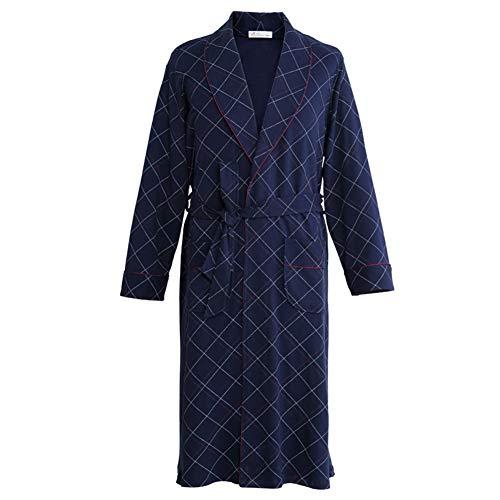 Herrenroben, Lange Baumwollkleider Bequemer, Atmungsaktiver Bademantel Dünnschnitt Sommer Große Pyjamas Blaue Hauskleidung L-XXXL (größe : XXXL)