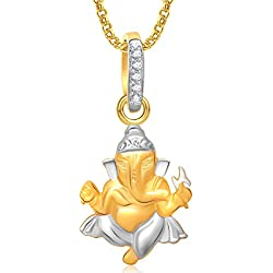 Amaal Ganesha Ganpati God Pendant with Chain for Men,Women Gold Plated in American Diamond Cz Jewellery GP0281