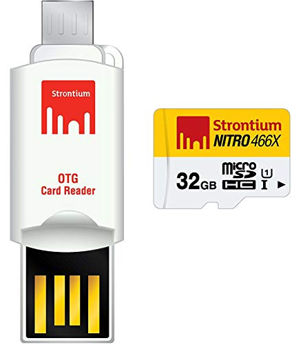 Strontium 32 GB Nitro 466X UHS-1 microSDHC Memory Card With OTG Card Reader