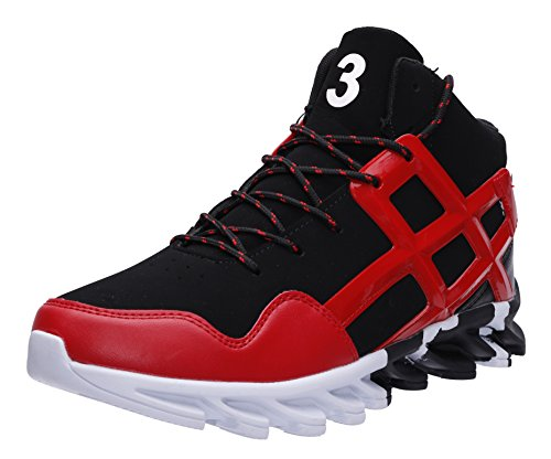 JOOMRA Herren High-Top Basketballschuhe Jungen Jungs Outdoor Turnschuhe Günstige Bequeme Lauf-Schuhe Freizeit Mode Sneaker Hohe Barfußähnliches Laufgefüh Workout Männer Rot Schwarz Weiß 39 EU
