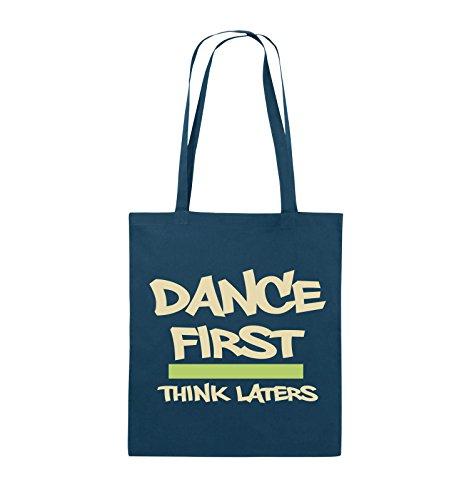 Comedy Bags - Dance first think laters - Jutebeutel - lange Henkel - 38x42cm - Farbe: Schwarz / Weiss-Pink Navy / Beige-Hellgrün