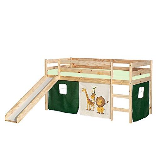 IDIMEX Rutschbett Benny Hochbett Kinderbett Spielbett Holzbett mit Rutsche, Vorhang mit Motiv Dschungel, Kiefer massiv Natur lackiert, 90 x 200 cm