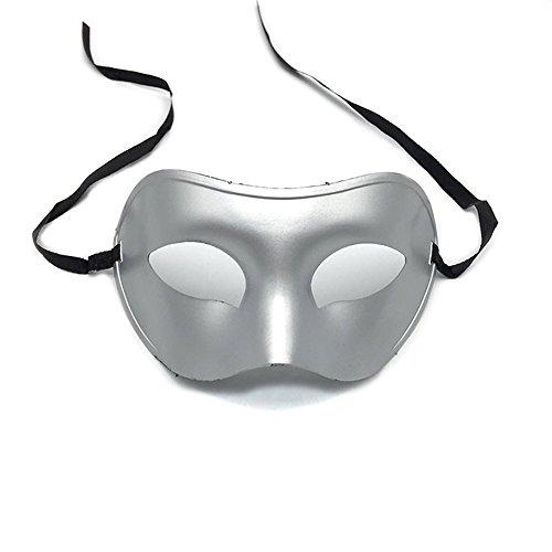 Maskerade,Männer halbes Gesicht bemalte Lackmaske Gentleman Jazz Performance Performance Maske Maske Silber Masquerade (Männer Bemalte Gesichter Für Für Halloween)