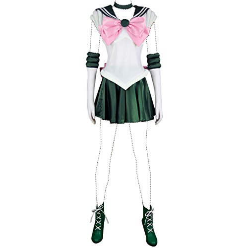 Sailor Moon Cosplay Costume Sailor Jupiter Makoto Kino Costume Set US Women 8.5