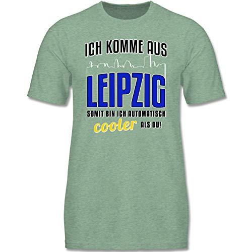 Städte & Länder Kind - Ich komme aus Leipzig - 134-146 (9-11 Jahre) - Türkis meliert - F140K - Jungen T-Shirt