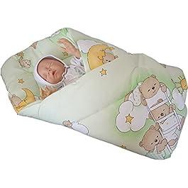 BlueberryShop SPIELMATTE Wickeldecke, Eischlagdecke, Decke, Schlafsack für Neugeborene, GESCHENK 0-4M 100% Baumwolle ( 0-3m ) ( 78 x 78 cm ) Grün Teddybär