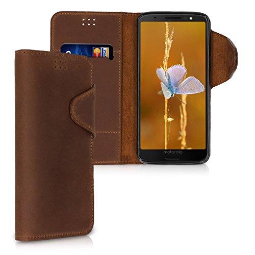 kalibri-Hlle-fr-Motorola-Moto-G6-Echtleder-Wallet-Case-Schutzhlle-mit-Fach-und-Stnder-in-Braun
