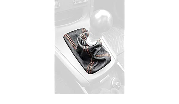 Black Leather-Red Thread Compatible with Ford Fiesta 2011-19 RedlineGoods Shift Boot Type 1 for ST Cars only