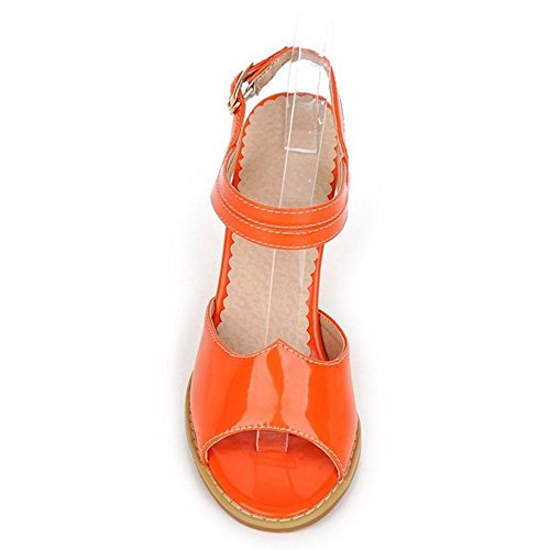 TAOFFEN Femmes Classique Peep Toe Sandales Bloc Talons Moyen Sangle De Cheville Chaussures Orange