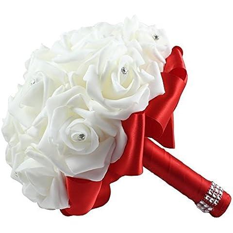 Hosaire 1X Schiuma Bouquet Da Sposa Bouquet Floreale Fiori Artificiali Nuziale Decorazione Wedding, 22 Centimetri,rosso