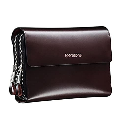 Teemzone Men's Top Genuine Leather Business Clutch Bag with Wrist Strap (Coffee with Strap)