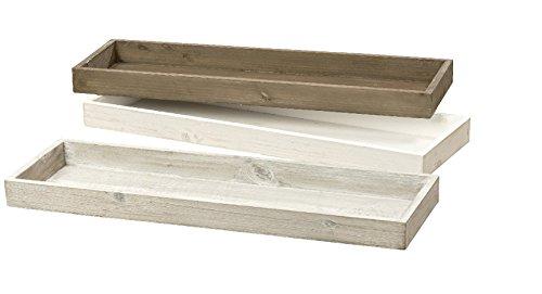 Preisvergleich Produktbild B.o.l.t.z.e 1 x Deko-Tablett MDF weiß,  grau o. braun Länge 53 cm,  Tischdeko,  Weihnachten,  Kerzentablett,  Adventskranz (weiß (Stückpreis))