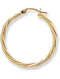 9ct Yellow Gold Extra Large Twist Hoop Earrings