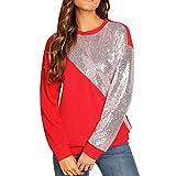 GreatestPAK Damen Pullover Lange Ärmel Rundhals Pailletten Nähte Oberteile Mode Blings Farbe Block O-Neck Patchwork Sweatshirt
