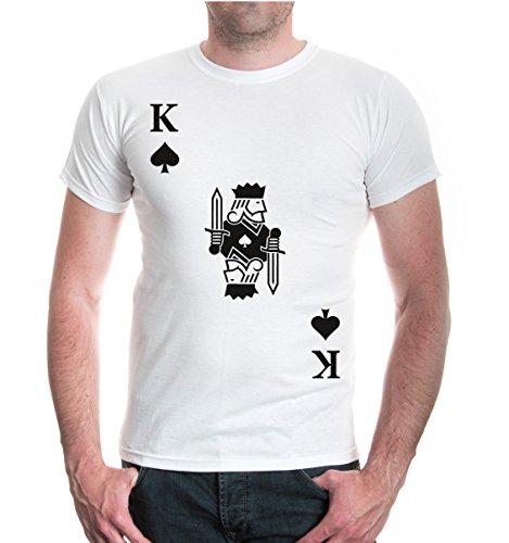 (buXsbaum® Herren Unisex Kurzarm T-Shirt Bedruckt König Karte Pik | Spielkarte Kostüm Kartenspiel | XL White-Black Weiß)