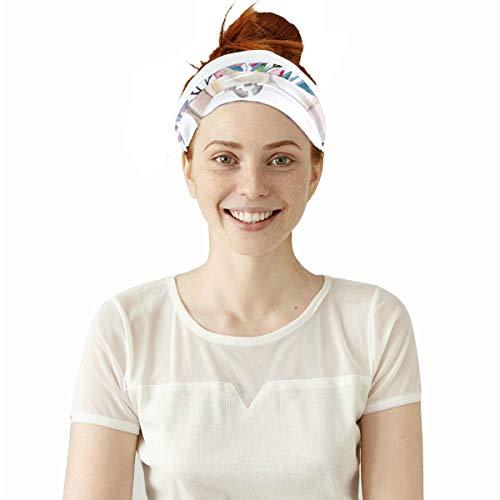 Plosds Stierkopf Schädel mit Blumen elastische Stirnbänder Kopf Wickeln Schal Sport Schweißband Gesichtsmaske magischen Schal Haarschmuck Bands Krawatten für Frauen Männer Mädchen Laufen Fitness Yoga