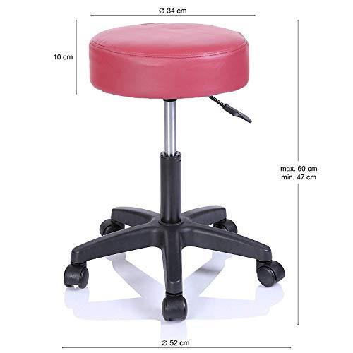 DEED Praktischer Stuhl-Drehstuhl für Büro-Schönheitssalon-medizinischer Rollhocker, höhenverstellbar, 360 Grad-Rotation, 10 cm Kissen Kreative Hocker,Rosa