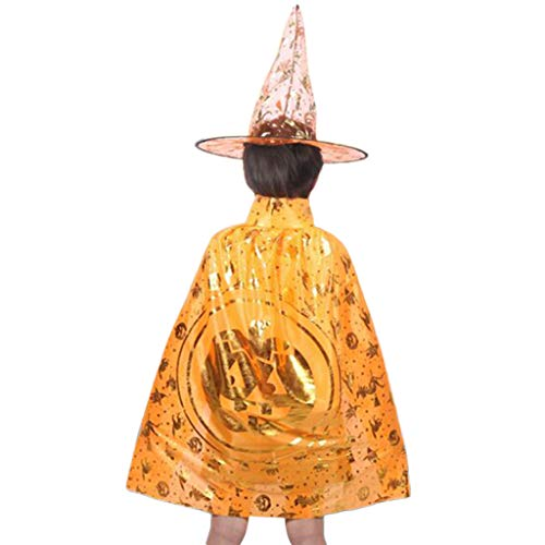 (Senoow Kinder Halloween Zauberer Hexe Mantel Cape Robe + Hut Cap Set Cosplay Party Kostüm)