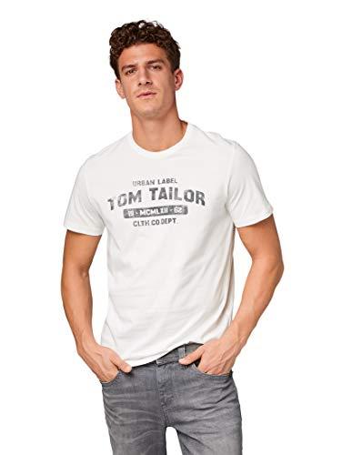 TOM TAILOR für Männer T-Shirts/Tops T-Shirt mit Schrift-Print Off White, XL