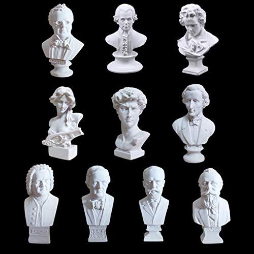 10 Stück Gipsbüsten im Set Mini Musiker Büste Statue Skulptur Kunstharz Home Büro Dekoration Kunst Ornamente - Kunst Skulptur