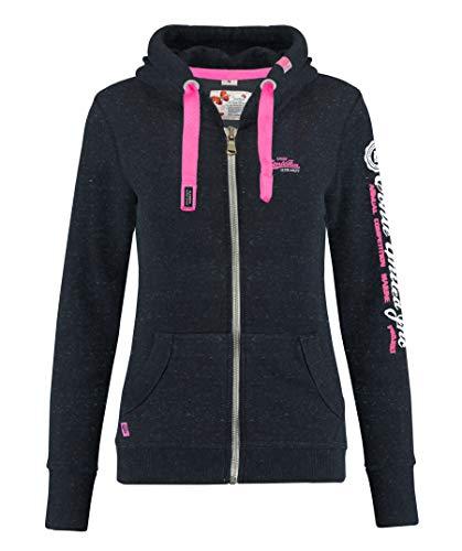 M.Conte Rachel Damen Hooded Sweater Sweat-Shirt-Jacke S M L XL Weiss Blau Grau Schwarz Pink Mit Kapuze Schwarz Black Melange L -