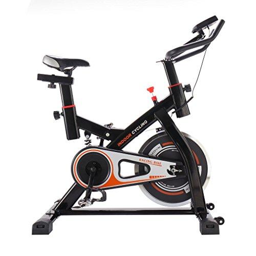 OUTAD Profi Indoor Cycle Fahrrad Heimtrainer Fahrrad Trimmrad Indoor Fitness Bike mit LCD Display und Stoßdämpfungssystem, Speedbike Flüsterleisem Riemenantrieb, Fahrrad Ergometer bis 100KG (Schwarz)