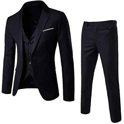 Rera Herren 3-Teilig Anzüge Business Hochzeit Smoking EIN Knopf Anzugjacke Anzugweste mit Anzughose Set Blazer Sakko Herrenmode -