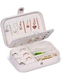JOYUE Joyero Pequeña, Joyero portátil de Viaje para Mujer, Jewelry Organizer para Anillos Aretes Pendientes Pulseras y Collares, 16,5 x 11,5 x 5,5 cm (Blanco)