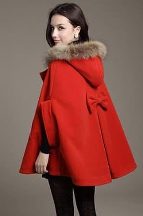 Womens Hooded Poncho Cape Coat Winter Warm Shawl Faux Fur Wool Cloak Outerwear