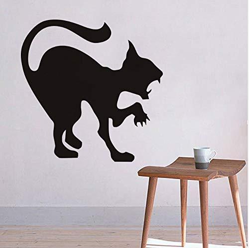 ber Wohnwand Küche Kunst Aufkleber VinylBlumeWohnkulturSchlafzimmer Junge Mädchen Kinderzimmer Aufkleber Scary schwarze Katze Halloween Party 44x44cm ()