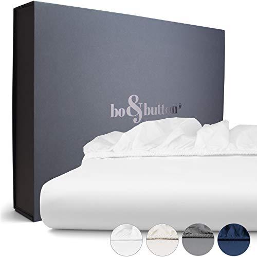 bo&button® Spannbettlaken   Superweiches Mako Satin aus 100% feinster Bio Baumwolle   Echte Luxusbettwäsche zum besten Preis   Größe 180 x 200 cm, Steghöhe 30 cm, Farbe White/Weiß - Ägyptische Baumwolle Single