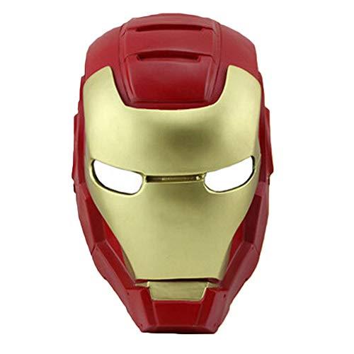 NDHSH Iron Man 3 Maske Erwachsene Kostüm Halloween Maske Vollgesichts Kopf Cosplay Maskerade Ball Festival Party Requisiten Maske,Red-32cm*20cm*15cm