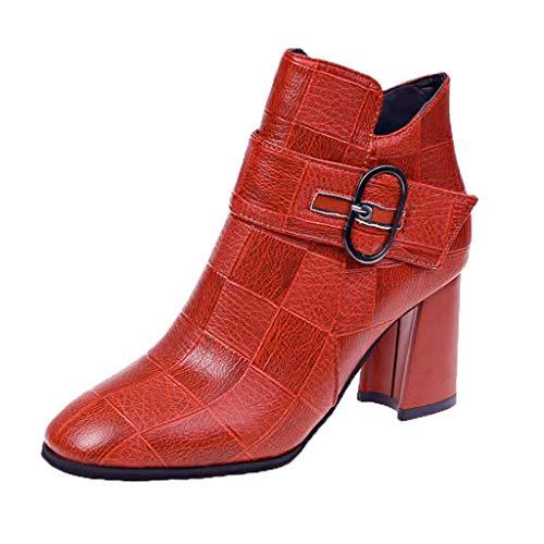 Botines de Tobillo con Cremallera para Mujer, Zapatos de Mujer Elegantes con Botas Bajas Casual de Cabeza...