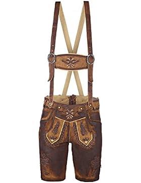 Kurze Herren Trachten-Lederhose aus Leder mit Stickerei, Used-Look (Gewachst), Braun