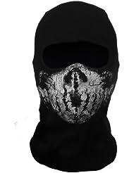 CoolChange pasamontañas negro para motocicleta con imagen de cráneo fantasma