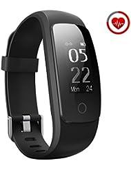 Mpow Bluetooth 4.0 Smart Fitness Armbänder mit Pulsmesser,Smart Fitnessarmband Gesundheit Aktivitätstracker, 0.96''OLED Wasserdicht IP67 Pulsuhr Schrittzähler für Android iOS Smartphones z.B.iPhone 7/7 Plus/6S/6/5/5S, Samsung S8/S7, Huawei, LG, Sony, schwarz(USB Anschluss direkt laden)
