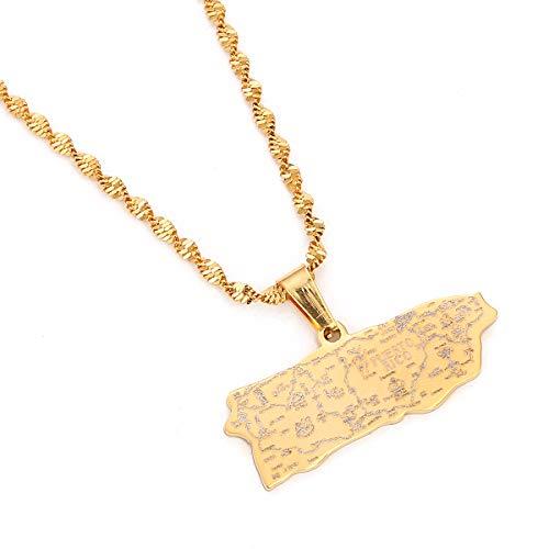 Halskette mit Kartenanhänger für Frauen und Mädchen (Gold)