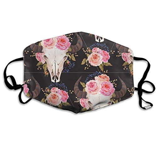 WBinHua Masken, Masken für Erwachsene, Mask Face, Mouth Mask, Breathable Mask Anti Dust, Unisex Buffalo Skull Decorated with Flowers Printed Cotton Mouth-Masks Face Mask Polyester Anti-dust ()