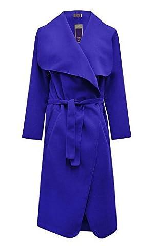 Janisramone Ladies Celebrity Waterfall Drape Belted Long Coat Fashion Jacket Abaya Long Sleeve Cape Royal ML