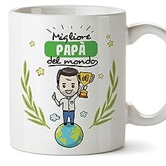 Idea Regalo - Mugffins papà Tazza/Mug - Migliore papà del Mondo - Idee Regali Festa del papà/Buon Compleanno/Tazze Originali di caffè. Ceramica 350 mL
