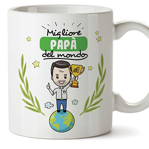 Mugffins papà Tazze Originali di caffè e Colazione da Regalare Papa - Migliore papà del Mondo - Ceramica 350 ml