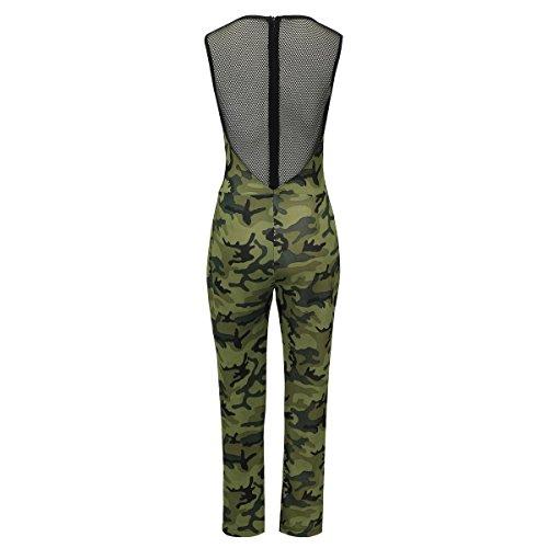 Laeticia Dreams Damen Overall Catsuit Sommer Jumpsuit Lang Netz Spitze S M L XL Camouflage