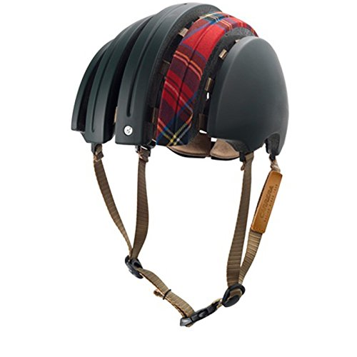 Brooks J.B. Special faltbarer Helm Schottenkaro super edler formschöner Fahrradhelm mit Leder, 80110, Größe XL (61 - 64 cm)