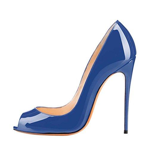 SHOFOO - Femmes - Stiletto - Cuir brillant synthétique - Noir - Talon aiguille - Bout pointu ouvert Bleu