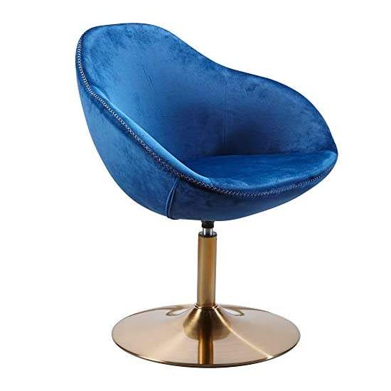 FineBuy Loungesessel SIRAN Samt Blau/Gold 70x79x70 cm Design Drehstuhl | Clubsessel Polsterstuhl mit Armlehne | Drehsessel Cocktailsessel Lounge | Barsessel Besucherstuhl | Sessel mit Stoffbezug