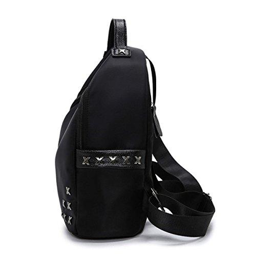 Wasserdichte Nylon Sport Rucksack Mode Große Kapazität Doppel-Rucksack Black