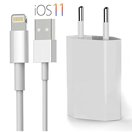 OKCS Originals iPhone Ladeset [USB Ladekabel mit Netzteil] 1 Meter für iPhone X, 8, 8 Plus, 7, 7 Plus, 6, 6s 6 Plus, 5, 5s, iPad 4, Pro,Mini, 2- Weiß