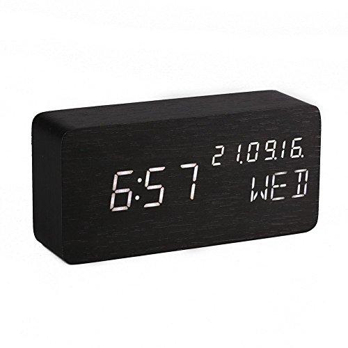 GUOLIAN Reloj Alarma Despertador Digital de Madera, Silencioso LED Pantalla Brillo Ajustable/Control de Sonido, Reloj de Mesa Indicador Calendario Tiempo y Temperatura para Hogar y Oficina (Negro-2)